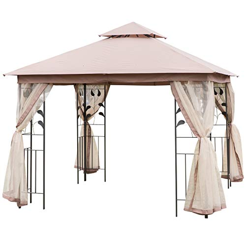 Outsunny 10' x 10' Steel Fabric Rectangle Outdoor Gazebo with Mesh Curtain Sidewalls - Brown