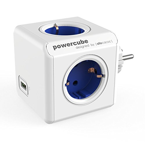 Allocacoc Power Cube Original USB, Bianco/Blu