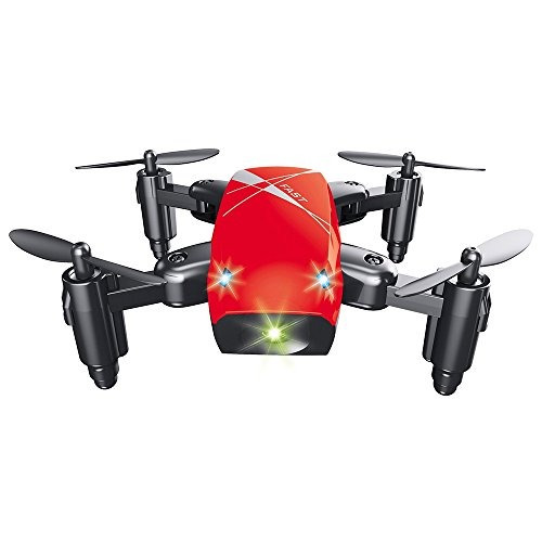 EISHOW S9 Micro Foldable RC Quadcopter Drone RTF 2.4GHz Wireless Remote Control 4CH 6-axis Gyro/Headless Mode/One Key Return / 3D Rollover/Mini Helicopter (Red, Standard Version)