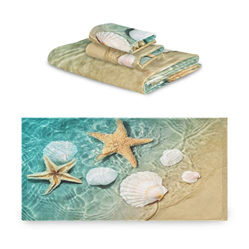 Blueangle 3 Piece Summer Beach Starfish and Seashell Towel Set, Super Soft, Heavy Weight & Absorbent