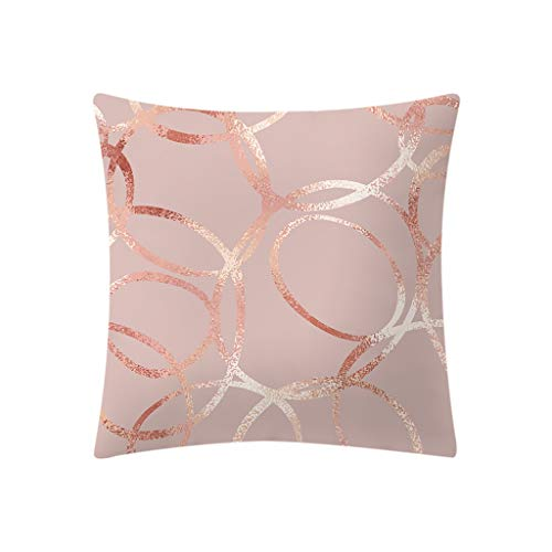 Moent Rose Gold Pink Throw Pillowcase Square Pillow Case Sofa Bedroom Hidden Zipper Soft Cushion Cover Home Decoration(18 x18 inch)