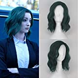 Blue Bird The Gifted Lorna Dane Polaris Hairstyle Cosplay Wig for Women Short Green Curly Wavy Costume Party Wig with Side Part Heat Resistant Synthetic Hair