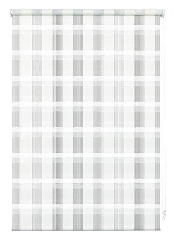 Doppelrollo zum Klemmen oder Kleben, Duo-Rollo/ Seitenzugrollo, Transparente und blickdichte Streifen, Alle Montage-Teile inklusive, Karo weiß, 100 x 150 cm (BxH)
