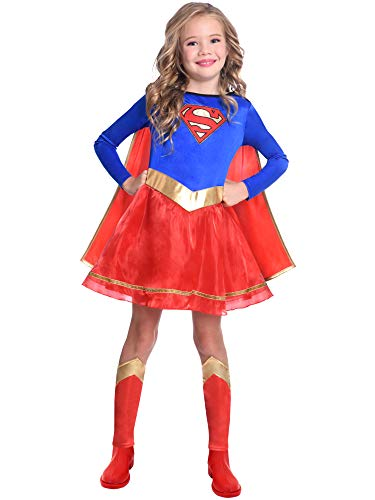 amscan Alter 6-8 Jahre Klassisch Super-Mädchen Supergirl Warner Bros Schickes Kleid Kostüm (Alter 6-8 Jahre)