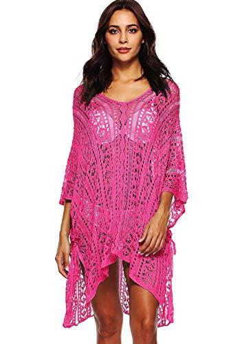 UMIPUBO Mujer Ropa de Baño Crochet Vestido de Playa V Cuello Camisolas y Pareos Bikini Cover up (Caliente)