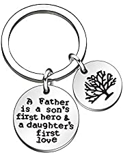CAROMAY Dad Key Chain Rings Fathers Day Gift Daddy Keychains Birthday Family Tree Papa Gift from Son Kids Daughter
