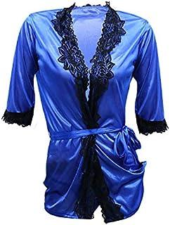 Lingerie Ropa Women's Satin Lingerie Nightdress Deep V Sleepwear