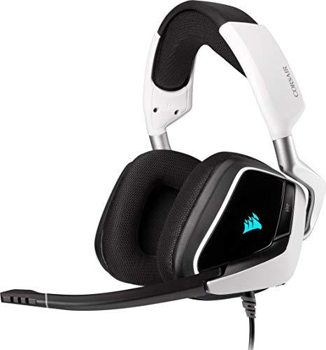 Corsair CA-9011204-EU VOID ELITE RGB USB Casque de Gaming Son surround 7.1, Microphone omnidirectionnel optimisé, Customisable Éclairage RGB, Maille microfibre coussinets, Armature aluminium Blanc