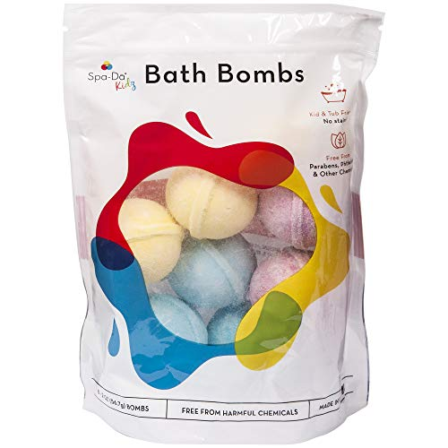 Spa-Da Kids Bath Bombs 8 Pack, Clean Gentle Safe Ingredients Free from Parabens & Harmful Chemicals, No Staining Skin or Tub, Make Bath Time Fun for Kids, Woman Owned Business Made for Moms
