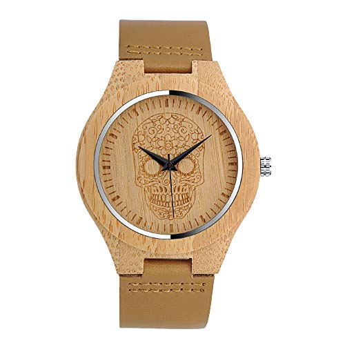 MICGIGI Männer Quarz Uhr Bambus holzuhr Herren Damen Analoge Holzuhren mit Leder Armband