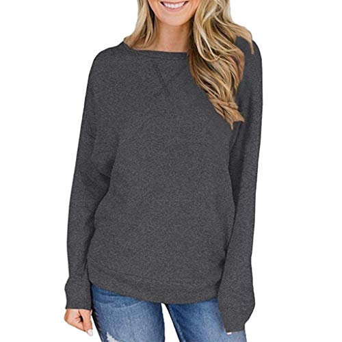Best Price GREFER-Women Womens Sweatshirts Fall Long Sleeve Loose Casual Pullover Tunic Tops Gray