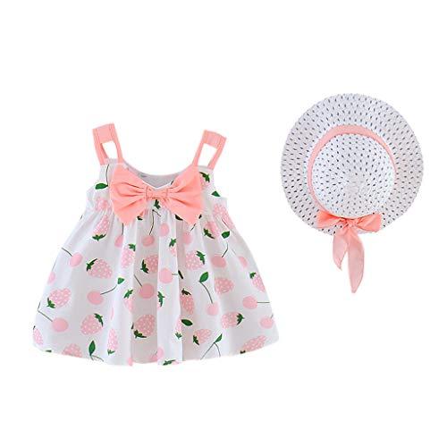 Cover Baby Mädchen Kleid + Strohhut Ärmelloses Wellenpunkt/Banane/Erdbeere Obst Drucken Kleider mit Bogen Sommerkleid