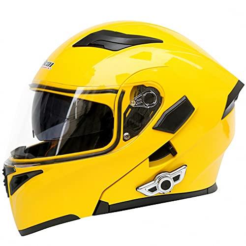 WYNBB Casco De Motocicleta con Bluetooth, Modulares Abatibles con Doble Visor Cascos Casco De Locomotora De Moto Integral Aprobado por ECE,A9,L