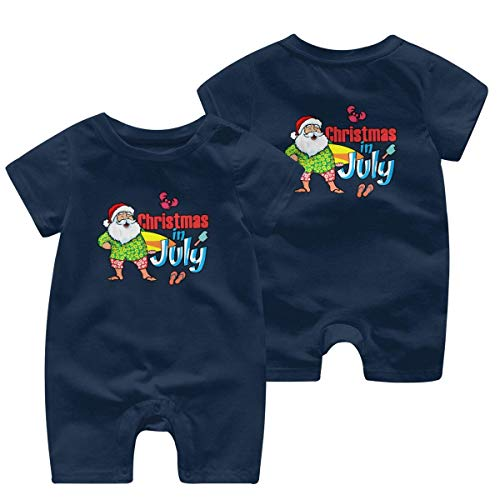 Just Born Baby Boys Girls Bodysuits Christmas in July with Funny Santa Surf Cotton Short Sleeve Romper Bodysuit