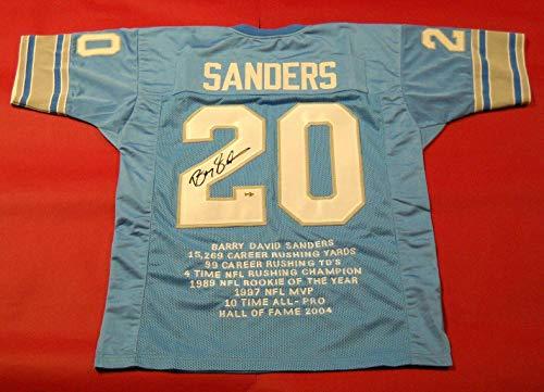Signed Barry Sanders Jersey - Stat - Autographed NFL Jerseys