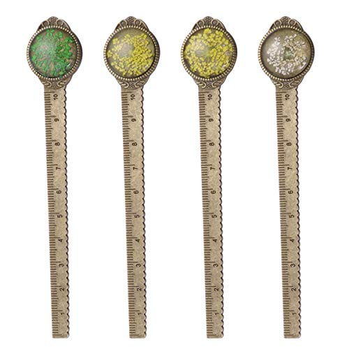Metal Bookmark Ruler,4Pcs Vintage Dried Flower Bronze Book Mark as Book Page Marker for Students(Random Style)