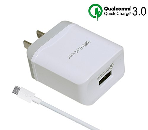 [Quick Charge 3.0] Rapid Fast Wall Charger Compatible LG V10 G4 G Flex 2,HTC One M9 A9,Nexus 6,Samsung Galaxy S6 S7 Edge Plus,Note 5,Sony,Moto,ASUS Phone (3.3ft Micro USB Cable Included)