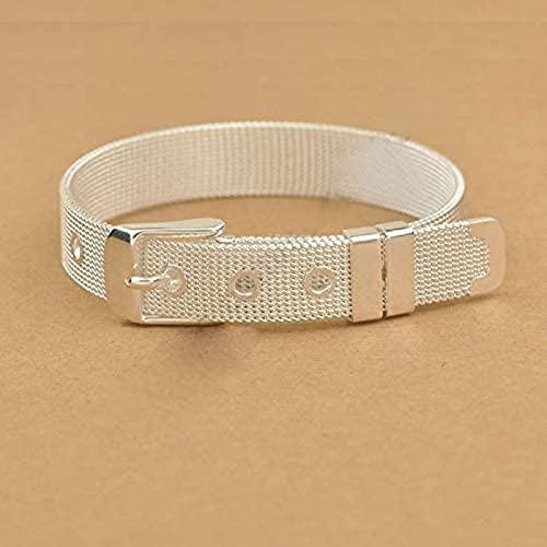 Gwuqbs Brazalete Fashion Belt Design Pure 925 Sterling Silver High Jewelry Brazalete Brazalete 2 Tallas para Elegir, adecuadas para Hombres (