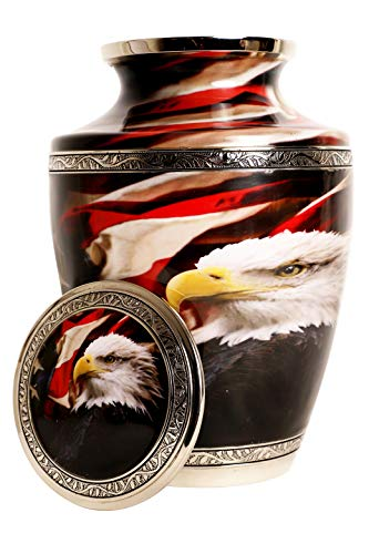Bald Eagle with American Flag-100% Brass,Silver,Cremation Urns for Adult Ashes(Large)