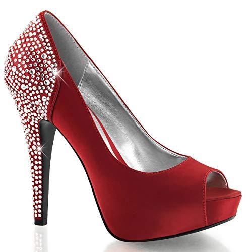 Fabulicious sexy Platform Peep Toe Pump Lolita-08,Strass, Rouge-Satin, 35-41