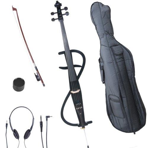 Cecilio CECO-3BK Ebony Electric Silent Metallic Black Cello in Style 3, Size 4/4 (Full Size)