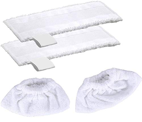 2 Stück Mikrofaser-Tuchset Kompatibel & 2 Stück Mikrofaser-Überzugsset Kompatibelfür Kärcher Dampfreiniger EasyFix SC 2, SC 3, SC 4, SC 5 Bodendüse