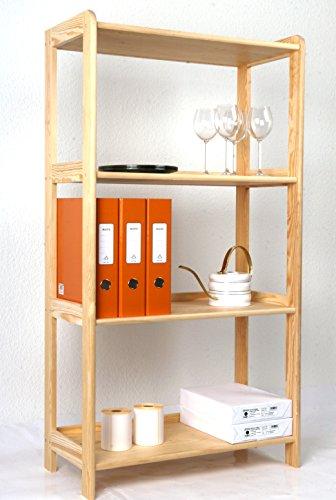 Holzregal 127 x 68 x 34 cm Kiefer massiv, 4 Böden Marke: Szagato (Standregal, Küchenregal, Bücheregal, Wohnregal für Kinderzimmer Echtholz-Regal Kieferregal natur)