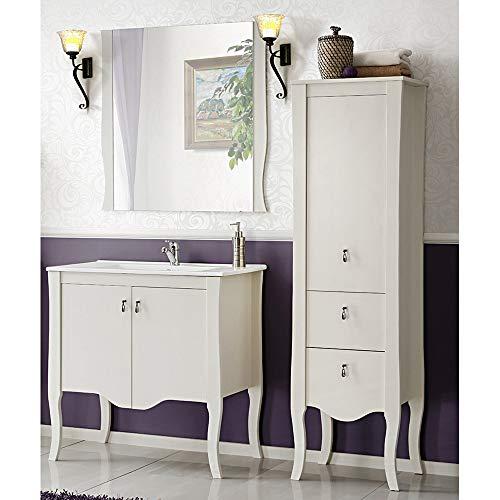 Landhaus Badezimmer Möbel Set im Romantik Stil ● Pinie Massivholz weiß ● 80cm Waschtisch-Unterschrank mit Keramik-Waschbecken ● Hochschrank & Spiegel ● Stand Badmöbel