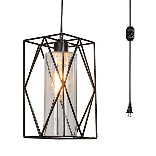 Ganeed Lámparas colgantes enchufables con pantalla de vidrio, lámpara colgante industrial, lámparas colgantes vintage con cable e interruptor de encendido/apagado para isla de cocina