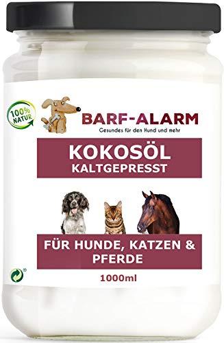 barf-alarm 100% Kokosöl für Hunde 1000ml – Tier Kokosnussöl Kokosfett für Hunde, Katzen & Pferde - 1 Liter Kaltgepresst nativ – Kokos Öl flüssig