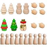 Muñecos de Madera sin Acabado Cuerpo de Muñeca de Madera Pequeños Decoraciones de Madera Peg Dolls p...