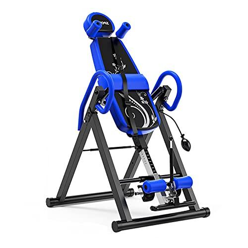LLF Aparatos de inversión, Mesa De Inversión Plegable De Servicio Pesado, Máquina De Inversión De La Espalda con El Respaldo del Confort para El Hogar De La Aptitud del Hogar Yoga(Color:Azul)