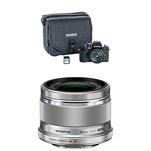 Olympus OM-D E-M10 Mark III Camera Kit with 14-42mm EZ Lens (Black) with M.Zuiko Digital 25mm F1.8 Lens