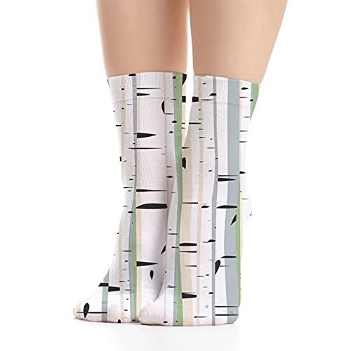 Women's socks,Trunks of Birches Colorful Dense Forest Design Botanical Spring Season Illustration,Made in America