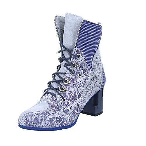 Maciejka Damen Stiefelette 03726-03/00-3 Schnürstiefelette Reißverschluss, Blumenmuster Abstrakter Blockabsatz Blau Grau (Blue Light Grey) Größe 39 EU
