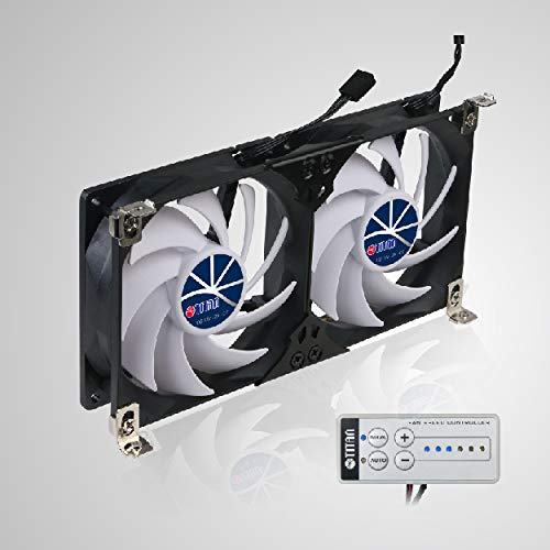 TITAN 12V DC Double Rack Mount Ventilation Cooling fan for Fridge Vent and Ventilation Grille with Speed Controller 120mm