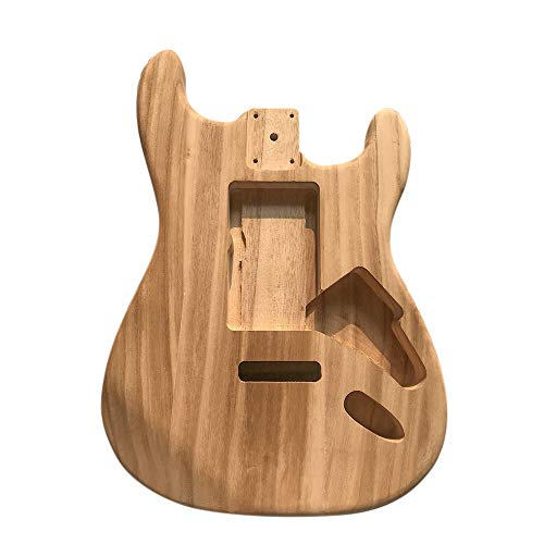 Sturdy Durable Maple Wood Unfinished Electric Guitar Body DIY Musical Instrument Accessory for Guitar Amateurs Beginners Learners Unfinished Guitar Body