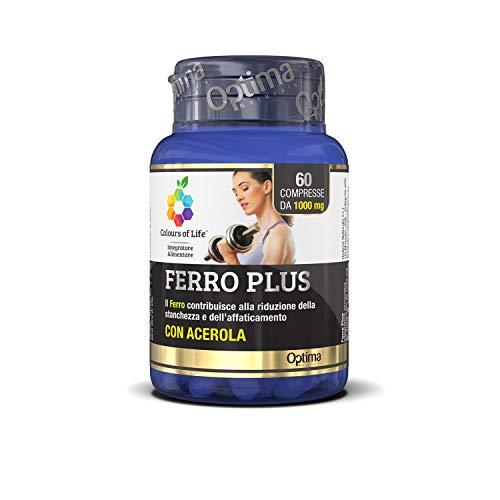 Colours of Life Ferro Plus - Integratore di Ferro - Favorisce le Funzioni del Sistema Immunitario, Riduce la Stanchezza e la Fatica - Senza Glutine e Vegano, 60 Compresse