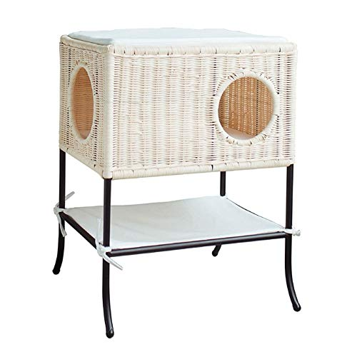 BUYT Handmade Elevated Dog Bed Large Cat Cage Rattan Dog Bed Cat Nest Best Gift for Pets
