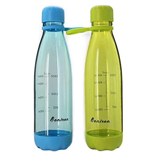 Bonison Sports Bottle with Soft Handle BPA Free 23 OZ Leak Proof and Eco Friendly with Cola Shaped (Green + Blue, Valued 2 Pack)
