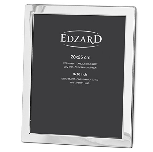 EDZARD Bilderrahmen Salerno für Foto 20 x 25 cm, edel versilbert, anlaufgeschützt, mit Samtrücken, inkl. 2 Aufhängern, Fotorahmen zum Stellen und Hängen