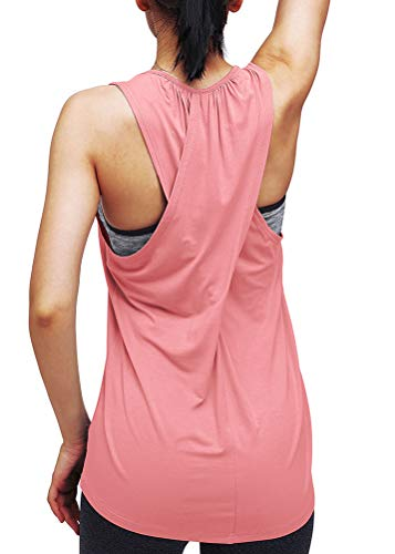 Mippo Workout Tops for Women Yoga Clothes Sleeveless Summer Shirts Long Workout Tank Tops Cute Athletic Gym Tops Sports Running Muscle Tank Cross Back Fitness Exercise Sports Shirts Dusty Rose L