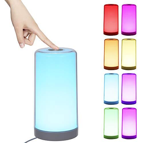 Nachttischlampe Touch Dimmbar, Tomshine LED Tischlampe Warmem Weißlicht Bunt 256 RGB, 3 Helligkeitsstufen, Memory und Augenschutz Funktion Nachtlicht [Energieklasse A++]