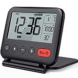 NOKLEAD Reloj despertador digital de viaje - Mini reloj pantalla LCD portátil calendario ...