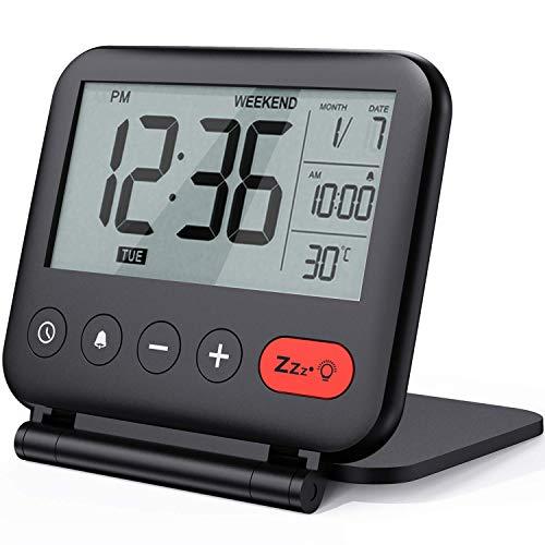 NOKLEAD Mini Digital Wecker - klein modern reisewecker mit temperaturanzeige, Datum, LCD Display, Snooze und Hintergrundbeleuchtung, batteriebetriebener tischuhr für Faltbarer Reise wecker (schwarz)