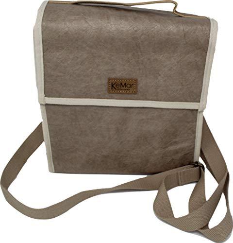 KeMar Kitchenware Lunchbox Tasche aus PE Papier | Kühltasche | Lunchtasche | Isoliertasche | Thermotasche | Bentobox Tasche | Sand Braun | Wasserabweisend | Vegan | Recycelt | Nachhaltig