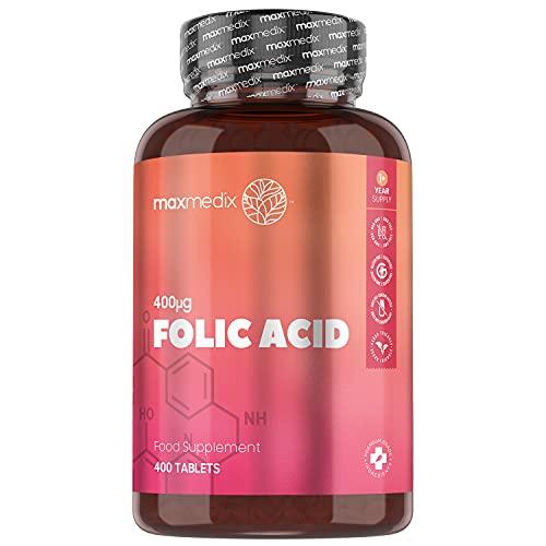 Ácido fólico 400µg (Vitamina B9) 400 Comprimidos Vegano - Suministro para más de 1 Año Suplemento Vitamínico para Mujeres, el Folato Contribuye al Crecimiento del Tejido Materno Durante el Embarazo