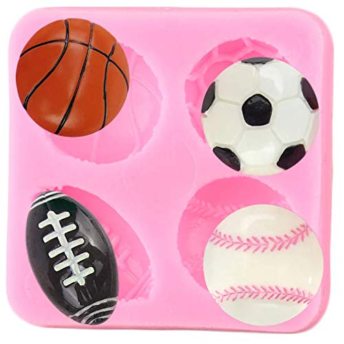 SKJH Bolas Molde de Silicona Baloncesto Fútbol Tenis Cupcake Topper Fondant Herramientas de decoración de Pasteles Moldes de Chocolate de Arcilla Dulce