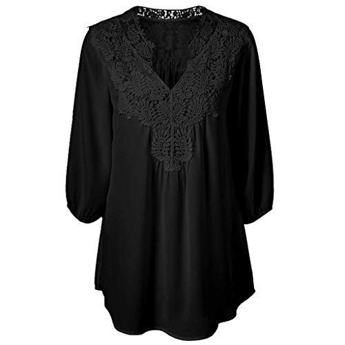 Xmiral Camicie Donna Maniche a Sette Punti esplosioni Colletto Cavo Camicetta Elegante Blusa Casual con Bottone XXXXXL Nero