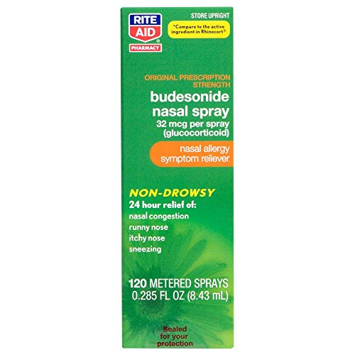 Rite Aid Budesonide Allergy Nasal Spray - 120 Metered Sprays | Allergy Relief Nasal Spray | 24-Hr Non-Drowsy Allergy Relief | Sinus Medicine for Adults | Decongestants for Adults